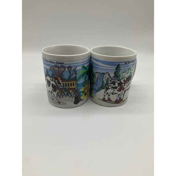 Vintage Road Trippin Cow Mugs